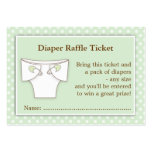 Mint Green Baby Shower Diaper Raffle Ticket Insert Large Business Cards (Pack Of 100)