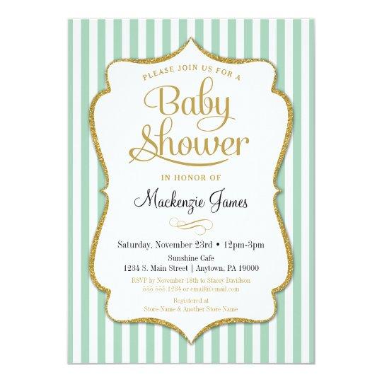 Mint Green Baby Shower Invitation Neutral Boy Girl