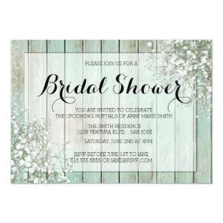 MINT GREEN BABY'S BREATH BRIDAL SHOWER CARD