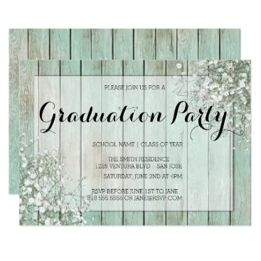 Toddler & Baby themed MINT GREEN BABY'S BREATH GRADUATION PARTY CARD