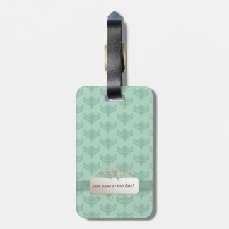 mint green background label luggage tag