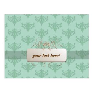 mint green background label postcard