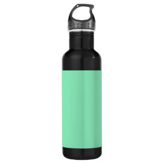 Mint Green Background on a Stainless Steel Water Bottle
