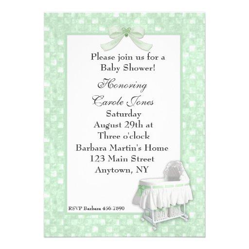 mint green bassinete baby shower invitation 5 x 7 invitation card
