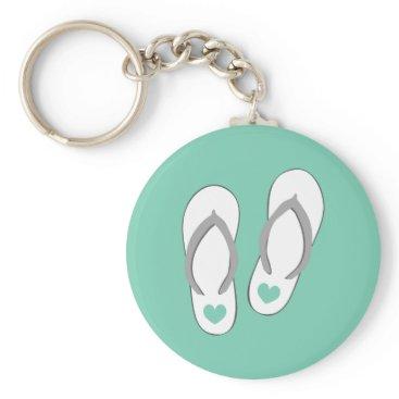 Beach Themed Mint green beach flip flops slippers keychain