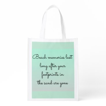 Beach Themed Mint Green Beach Lovers Memories Typography Quote Grocery Bag