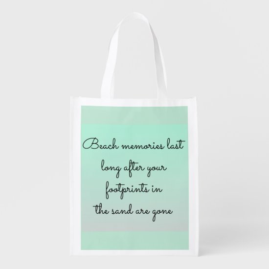 Mint Green Beach Memories Typography Keepsake Grocery Bag