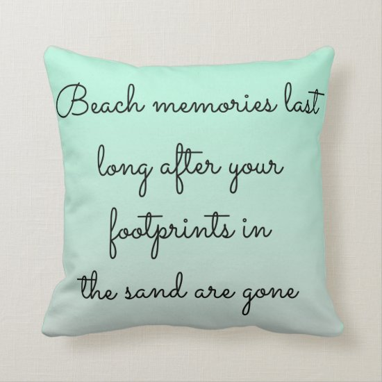 Mint Green Beach Memories Typography Keepsake Throw Pillow