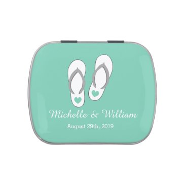 Beach Themed Mint green beach slippers candy wedding favor jelly belly candy tins