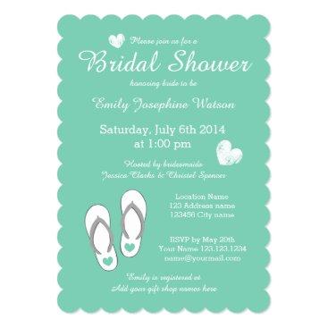 Beach Themed Mint green beach theme bridal shower invitations