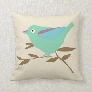 Mint green bird throw pillow