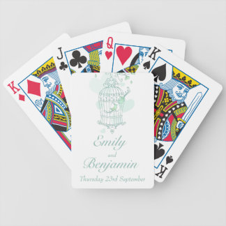 Mint green birds cage wedding name playing cards