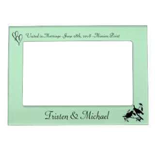 Mint Green Birds & Hearts Wedding Photo Magnetic Picture Frame