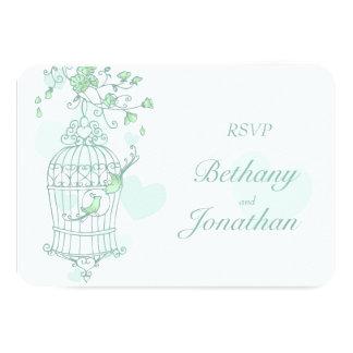 Mint green birds open cage wedding RSVP Card