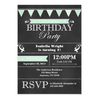 Mint Green Black Chalkboard Birthday Invitation
