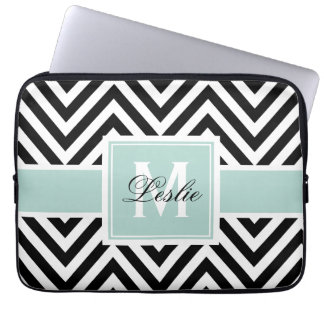 MINT GREEN, BLACK CHEVRON PATTERN PERSONALIZED COMPUTER SLEEVES