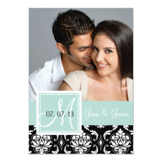 Mint Green Black Damask Photo Save the Date Card
