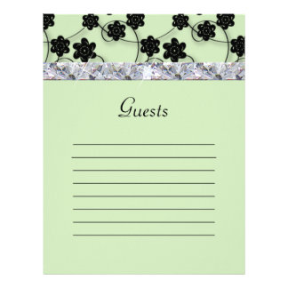 Mint Green & Black Flowers Diamond Shimmer Wedding Letterhead
