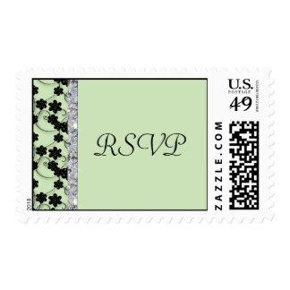 Mint Green & Black Flowers Diamond Shimmer Wedding Stamp