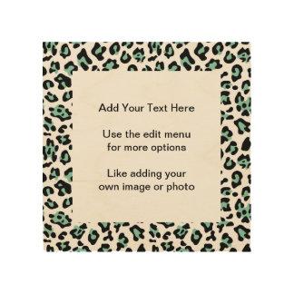 Mint Green Black Leopard Animal Print Pattern