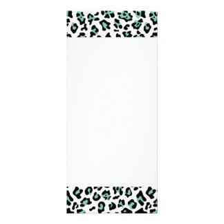 Mint Green Black Leopard Animal Print Pattern Rack Card