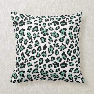 Mint Green Black Leopard Animal Print Pattern Throw Pillow