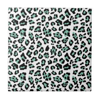 Mint Green Black Leopard Animal Print Pattern Tile