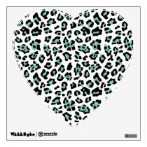 Mint Green Black Leopard Animal Print Pattern Wall Sticker