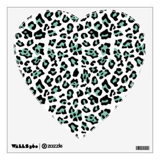 Mint Green Black Leopard Animal Print Pattern Wall Sticker