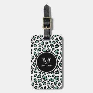 Mint Green Black Leopard Animal Print with Monogra Luggage Tag