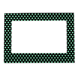 Mint Green Black Polka Dots - Magnetic Frame