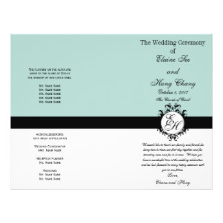 Mint Green Black Wedding Program Chic Monogrammed