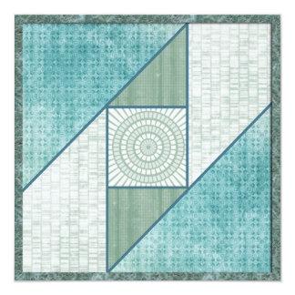 Mint Green & Blue Attic Window Quilt Square Card