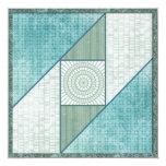 Mint Green & Blue Attic Window Quilt Square 5.25x5.25 Square Paper Invitation Card