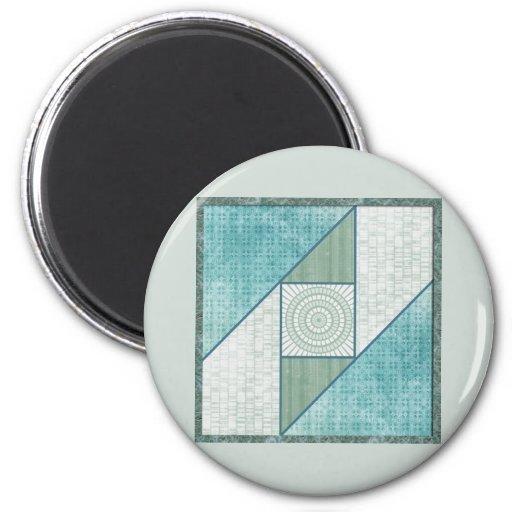 Mint Green & Blue Attic Window Quilt Square Refrigerator Magnet