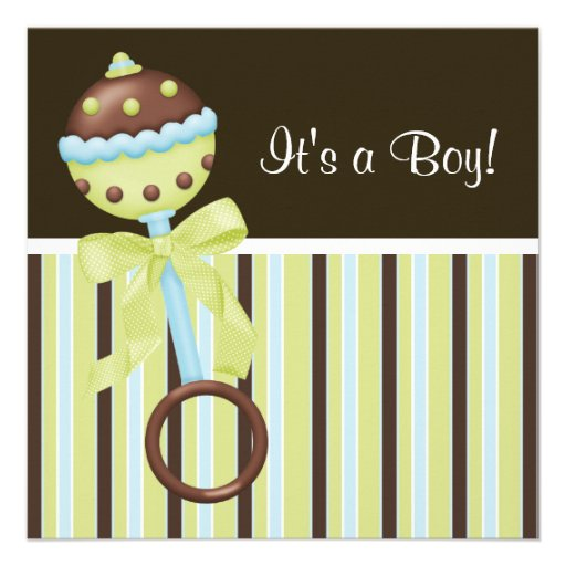mint green blue brown baby boy shower invitations square