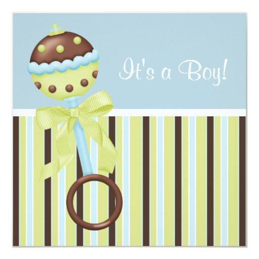 mint green blue brown baby boy shower invitations zazzle