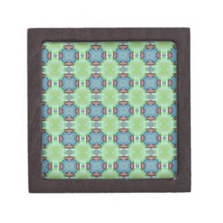 Mint Green Blue Funky Fractal Pattern Shapes Jewelry Box