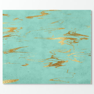 Mint Green Blue Gold Marble Shiny Glam Wrapping Paper