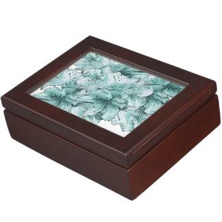 Mint Green Blue Illustrated Flower Memory Box