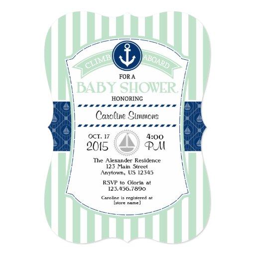 mint green blue nautical baby shower invitation zazzle