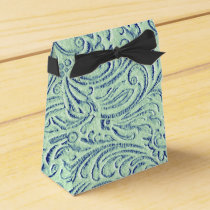 Mint Green Blue Vintage Scrollwork Graphic Design Favor Box