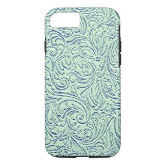 Mint Green Blue Vintage Scrollwork Graphic Design iPhone 8/7 Case