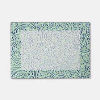 Mint Green Blue Vintage Scrollwork Graphic Design Post-it Notes