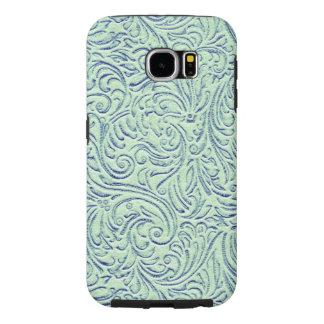 Mint Green Blue Vintage Scrollwork Graphic Design Samsung Galaxy S6 Case