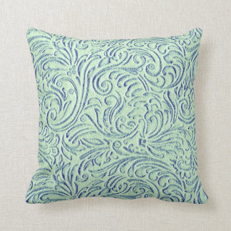 Mint Green Blue Vintage Tin Tile Look Rustic Home Throw Pillow