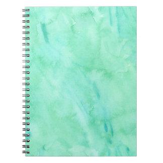 Mint Green Blue Watercolor Texture Pattern Spiral Notebook