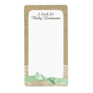 Mint Green Bow and Burlap Baby Book Tags