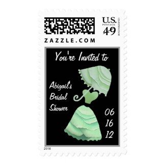 MINT GREEN Bridal Shower Customized Invitation Postage Stamps