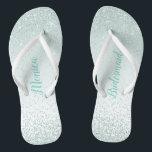 """Mint Green Bridesmaid Wedding Flip Flops<br><div class=""""desc"""">Pretty wedding party flip flops with graphics of a mint green glitter on a light mint green background.  Custom text is fully customizable to suit your wedding needs.</div>"""